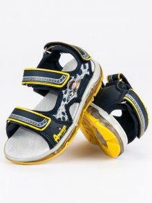 Lehké modré chlapecké sandály se žlutým lemováním