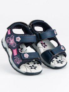 Roztomilé modré dívčí sandály na suchý zip