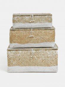 Bílo-hnědá sada tří košíků z mořské trávy Kaemingk