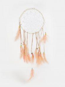 Bílo-růžový lapač snů s peříčky Kaemingk
