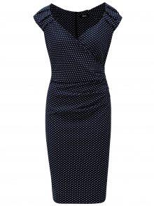 Tmavě modré puntíkované šaty s překládaným výstřihem ZOOT