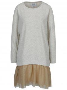 Krémové mikinové šaty s šifónovou sukní ONLY Danila