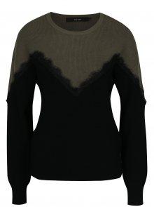 Zeleno-černý svetr s krajkovými detaily VERO MODA Smilla