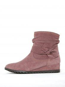 Starorůžové semišové kotníkové boty na nízkém klínku Tamaris