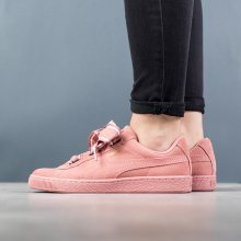 Boty - Puma | RŮŽOVÝ | 38 - Dámské boty sneakers Puma Suede Heart Satin II 364084 03