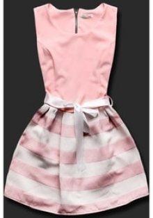 MODOVO Elegantní dámské šaty 3054PAS pudrové
