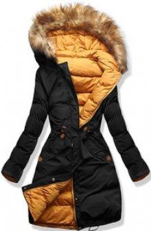 MODOVO Dámská zimní bunda s kapucí A5 černo-oranžová