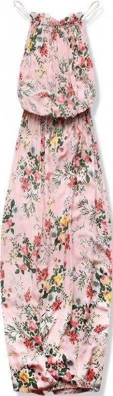 Pudrové maxi šaty v BOHO stylu