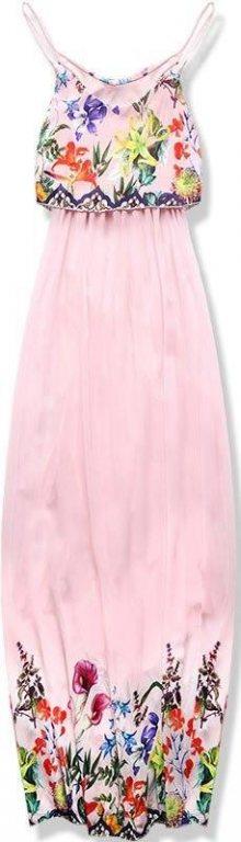 Pudrové maxi šaty s volánem