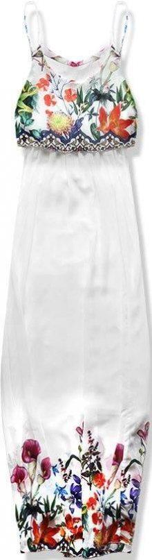 Bílé maxi šaty s volánem