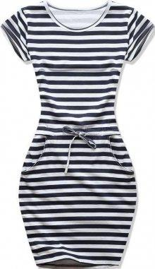 Bílo-modré šaty v námořnickém stylu midi pruh