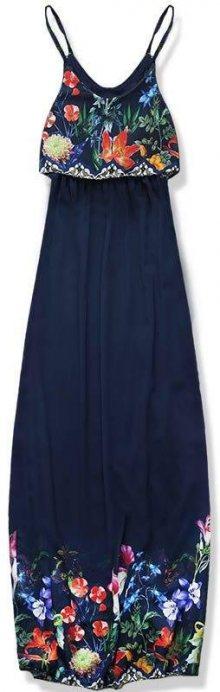 Tmavě modré maxi šaty s volánem