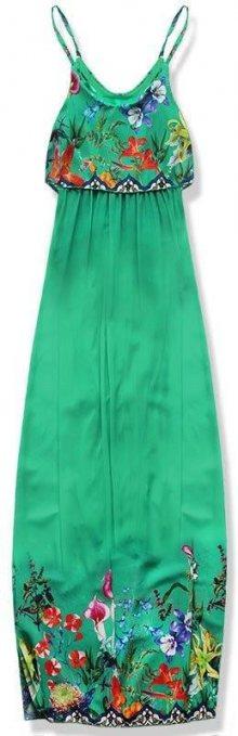 Zelené maxi šaty s volánem