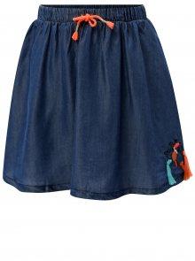 Modrá holčičí džínová sukně s nášivkou a třásněmi 5.10.15.