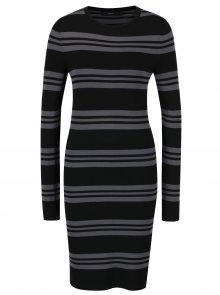 Šedo-černé pruhované šaty s dlouhým rukávem VERO MODA Sassy