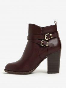 Vínové kotníkové boty na podpatku s přezkami Dorothy Perkins