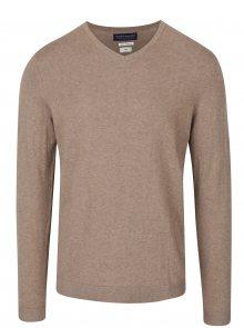Béžový žíhaný lehký svetr s véčkovým výstřihem Jack & Jones Luke