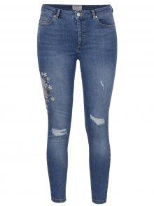 Modré skinny džíny s výšivkou Miss Selfridge