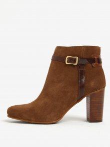 Světle hnědé dámské kožené kotníkové boty na podpatku GANT Alma