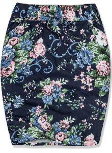 Modro-zelená květinová sukně