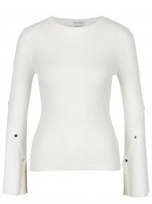 Krémový žebrovaný svetr s detaily na rukávech Miss Selfridge