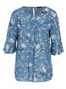 Modrá průsvitná květovaná halenka s volány na rukávech M&Co