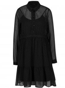 Černé puntíkované košilové šaty s volánem VERO MODA Flocks