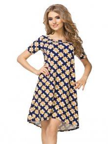 Tessita Dámské šaty T188/1_Argyle pattern (white, navy blue and mustard)