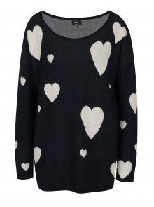Tmavě modrý svetr s motivem srdcí ONLY Valentine