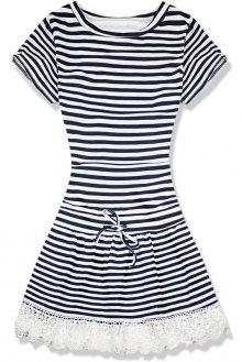 Modro-bílé šaty s krajkou midi pruh