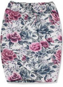 Šedo-růžová květinová sukně