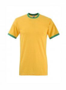 Tričko s barevnými lemy  - Žlutá se zelenou S