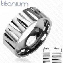 Titanový prsten zářezy ve tvaru náboje D13.8