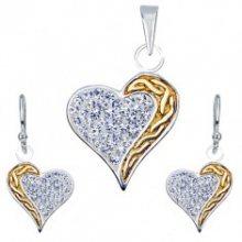 Sada náušnic a přívěsku ze stříbra 925 - zirkony, zlatý pás, srdce Q1.16