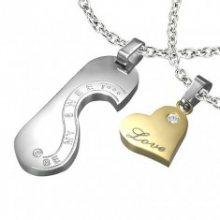 Ocelový přívěsek - známka a srdce LOVE pro dvojici R5.5