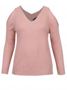 Světle růžový svetr s průstřihy na ramenou Dorothy Perkins Curve