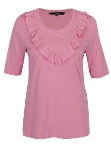 Růžové tričko s volány VERO MODA Maria