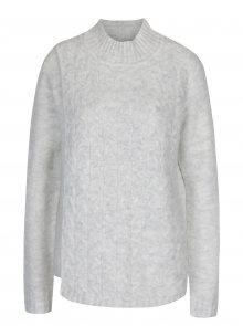 Světle šedý svetr s překládaným předním dílem VILA Disa
