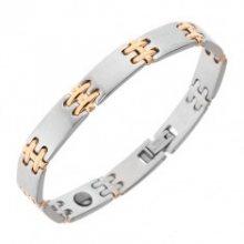 Ocelový náramek na ruku, matné články, lesklé spoje H zlaté barvy, magnety SP16.11
