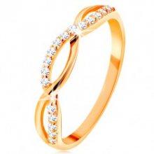 Prsten ze žlutého 14K zlata - propletené vlnky - hladká a zirkonová GG130.09/54/57