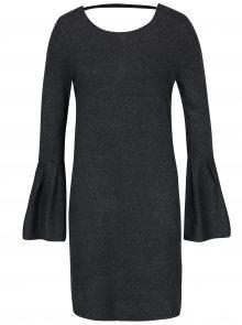 Tmavě šedé žíhané svetrové šaty se zvonovými rukávy VERO MODA Biggs
