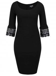 Černé plus size pouzdrové šaty s krajkovými detaily Goddiva