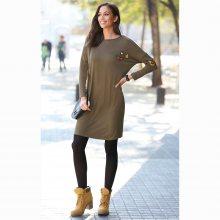 Venca Krátké šaty s dlouhými rukávy a nášivkami khaki S