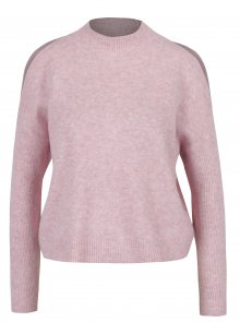Růžový žíhaný svetr s průstřihy na ramenou Miss Selfridge