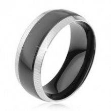 Prsten z oceli 316L, rýhované okrajové pásy, lesklý černý pruh K3.14
