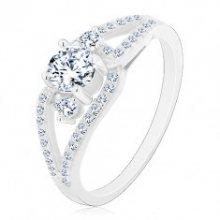 Stříbrný prsten 925, rozdělená třpytivá ramena, tři kulaté čiré zirkony J13.19