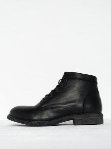 Černé kožené kotníkové boty se zipem Selected Homme Trevor
