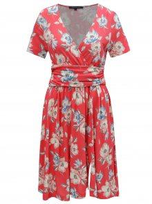 Korálové květované šaty s překládaným výstřihem French Connection Cari
