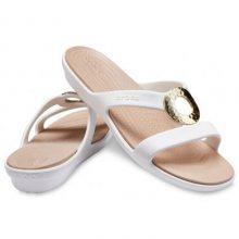 Crocs bílé pantofle Sanrah Hammered Oyster/Gold - W7