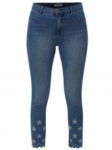 Modré zkrácené skinny džíny s průstřihy na nohavicích Dorothy Perkins